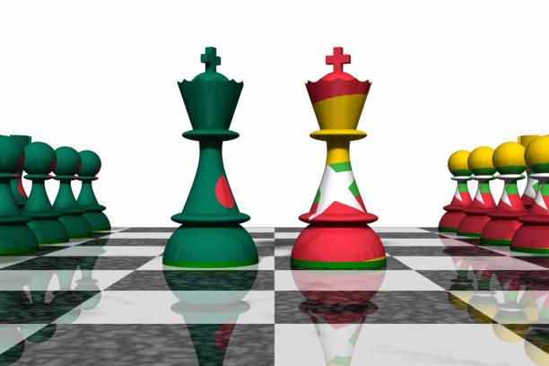 Bangladesh and Myanmar Chess Standoff stock photo