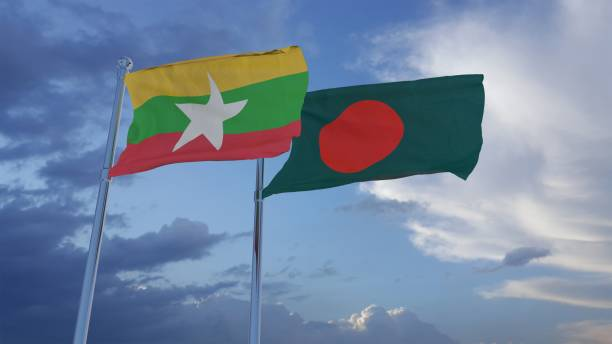 Bangladesh and Myanmar Flags 3D Illustration 3D Illustration Flags of Myanmar and Bangladesh rohingya culture stock pictures, royalty-free photos & images