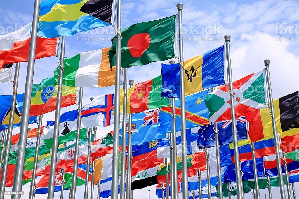 Bangladesh y world flags - foto de stock