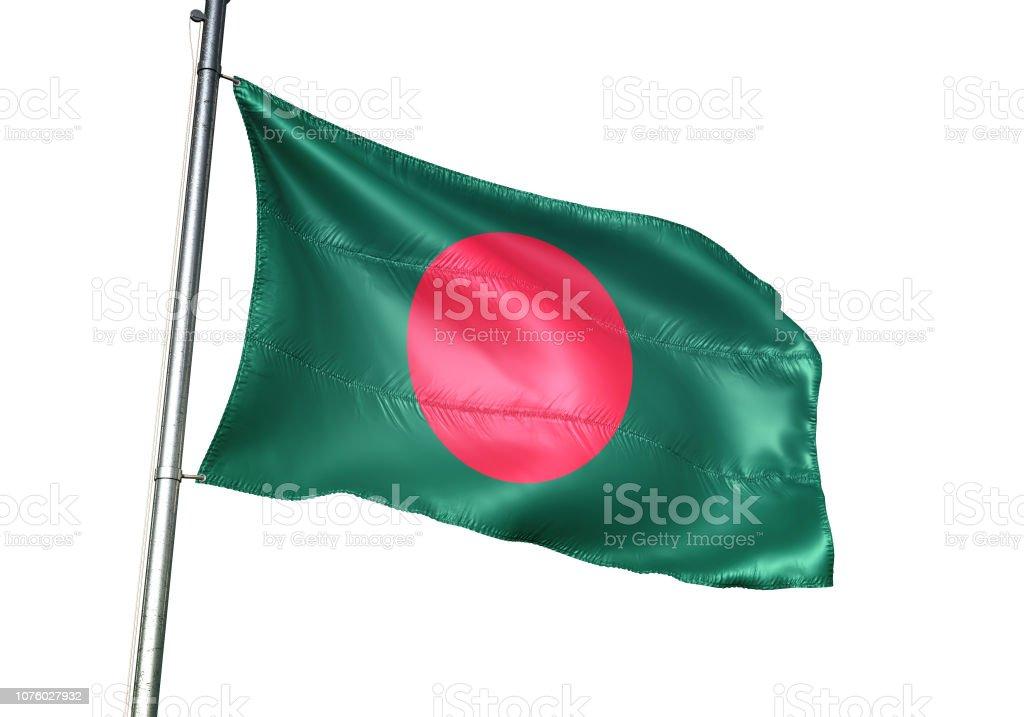 Bangladesh bangladeshi flag waving isolated on white background realistic stock photo