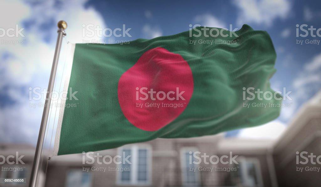 Bangladesh Flag 3D Rendering on Blue Sky Building Background stock photo