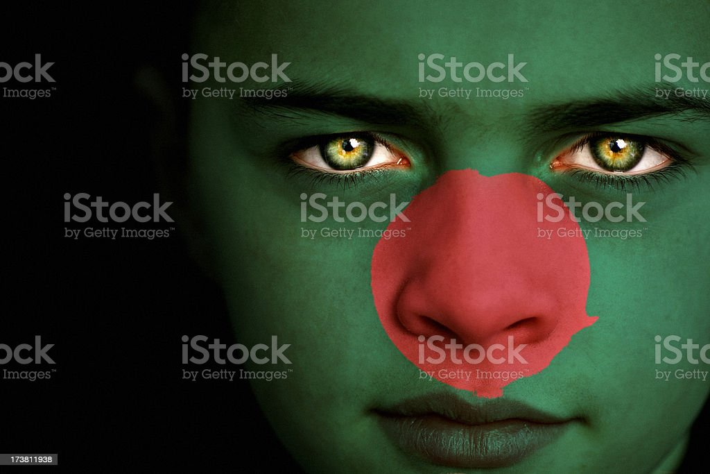Bangladesh flag boy stock photo