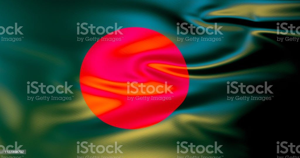 Bangladesh flag in the wind . 3d illustration stock photo