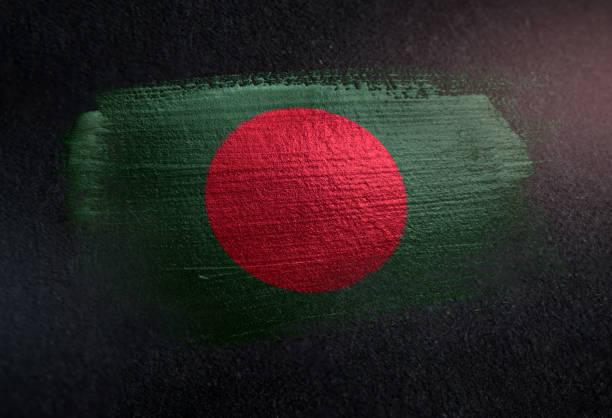 Bangladesh Flag Made of Metallic Brush Paint on Grunge Dark Wall stock photo
