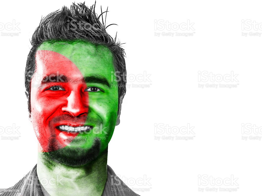 Bangladesh flag on a male face stock photo