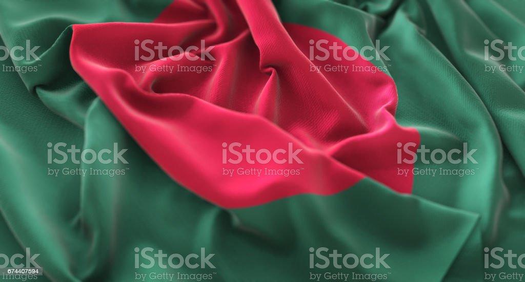 Bangladesh Flag Ruffled Beautifully Waving Macro Close-Up Shot stock photo