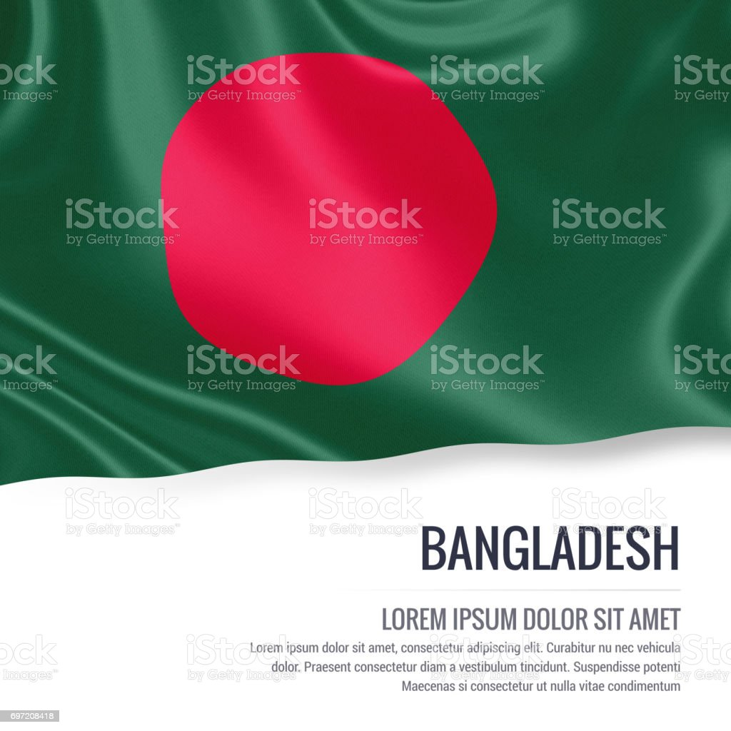 Bangladesh flag. Silky flag of Bangladesh waving on an isolated white background with the white text area for your advert message. 3D rendering. stock photo