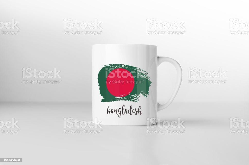 Bangladesh flag souvenir mug on white background. 3D rendering. stock photo