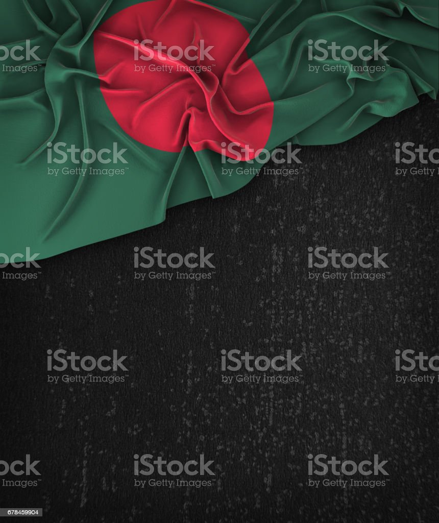 Bangladesh Flag Vintage on a Grunge Black Chalkboard With Space For Text stock photo