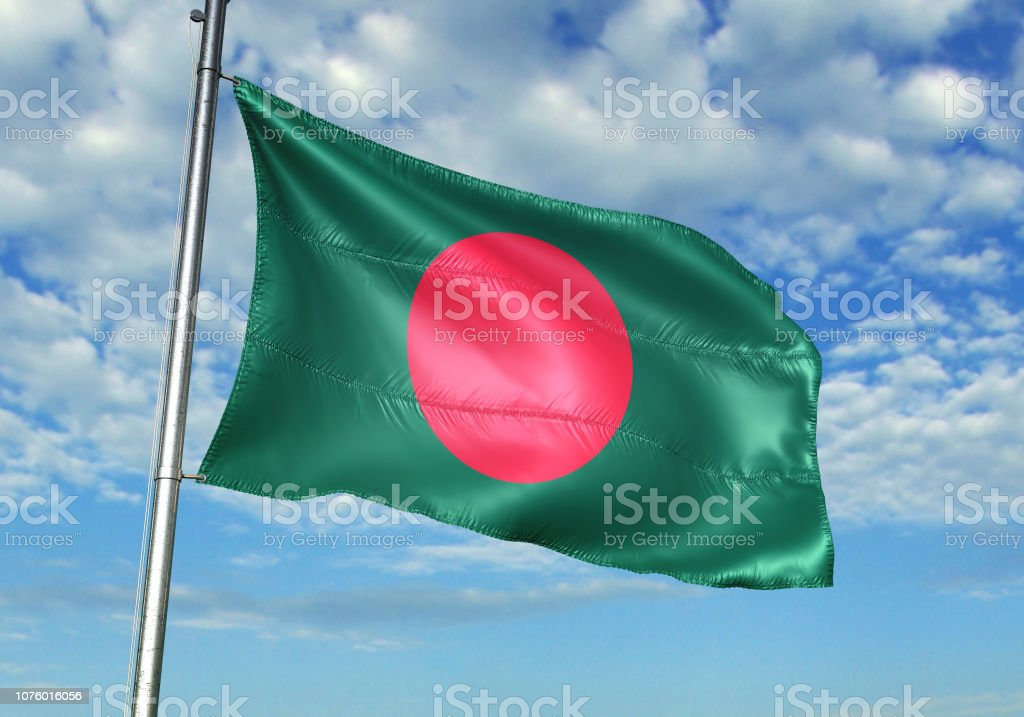 Bangladesh flag waving cloudy sky background realistic 3d illustration stock photo