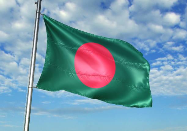 Bangladesh flag waving cloudy sky background realistic 3d illustration stock photo