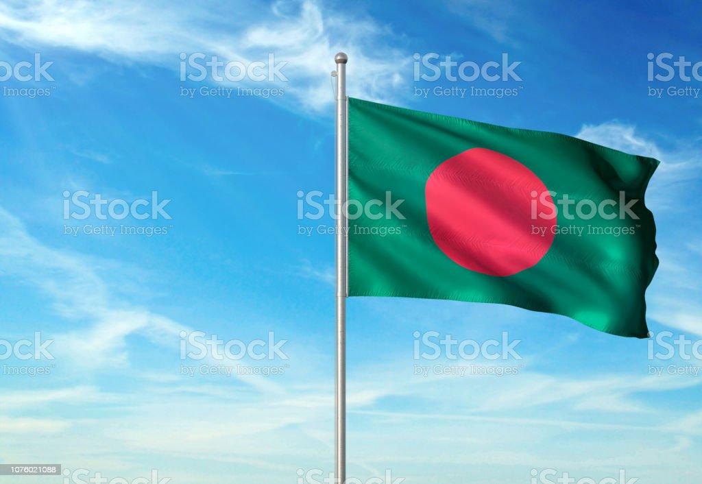 Bangladesh flag waving cloudy sky background realistic stock photo