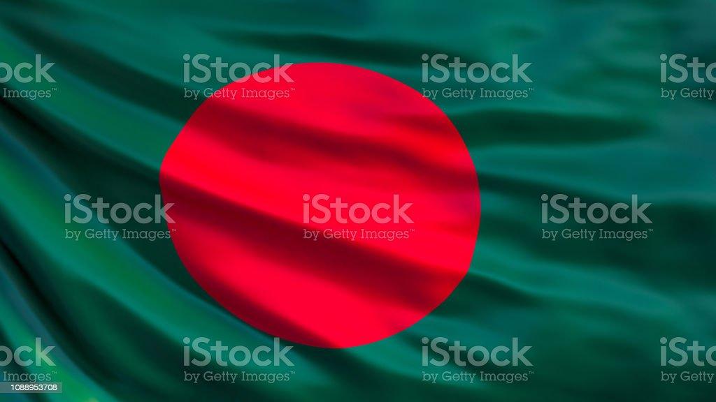 Bangladesh flag. Waving flag of Bangladesh 3d illustration stock photo