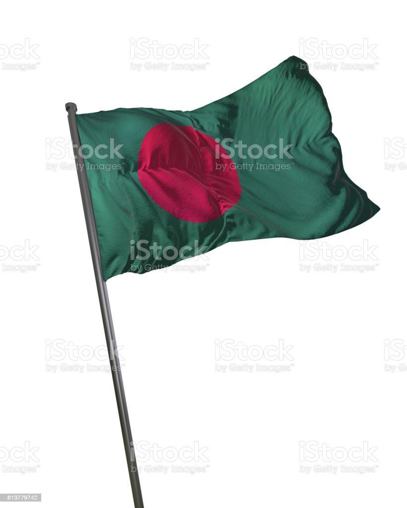 Bangladesh Flag Waving Isolated on White Background Portrait stock photo