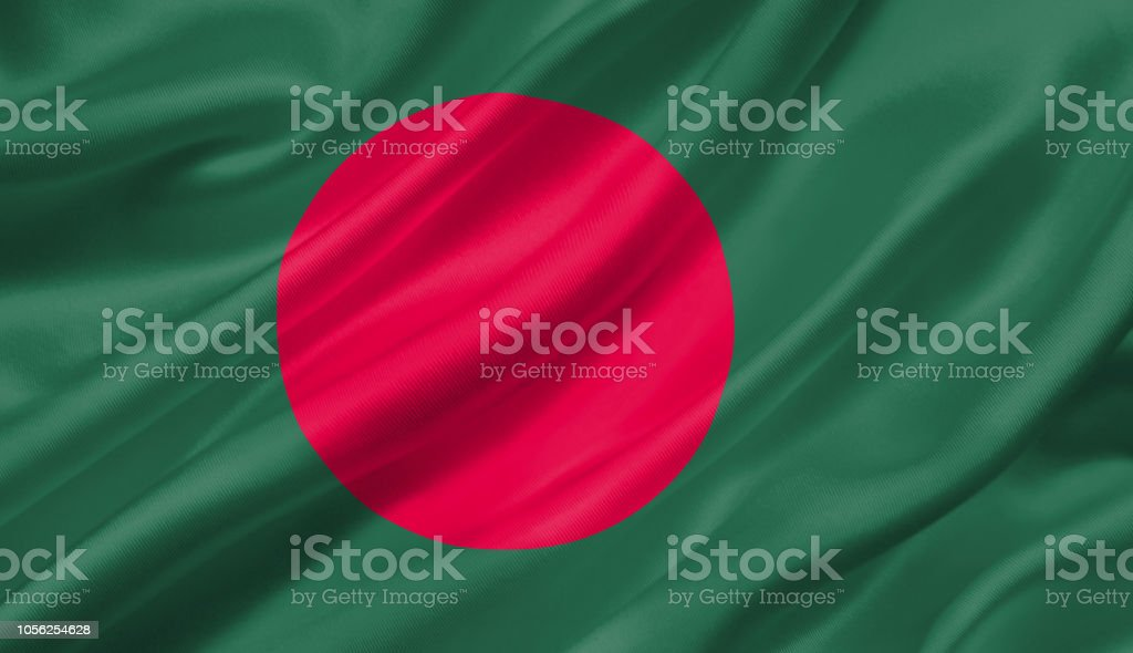 Bangladesh flag waving with the wind, 3D illustration. stock photo