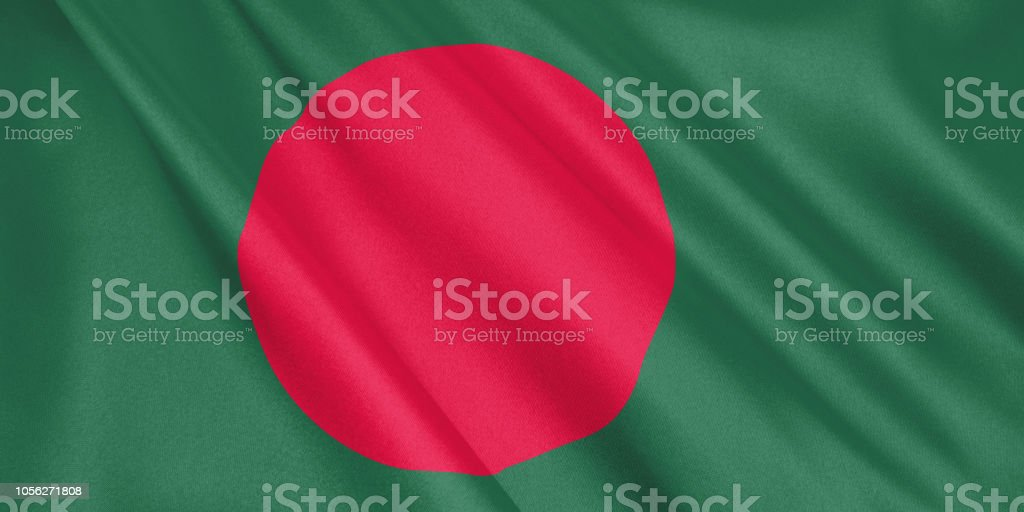 Bangladesh flag waving with the wind, wide format, 3D illustration. 3D rendering. stock photo