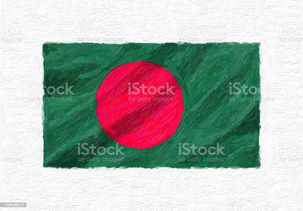 Bangladesh hand painted waving national flag, oil paint isolated on white canvas, 3D illustration. stock photo