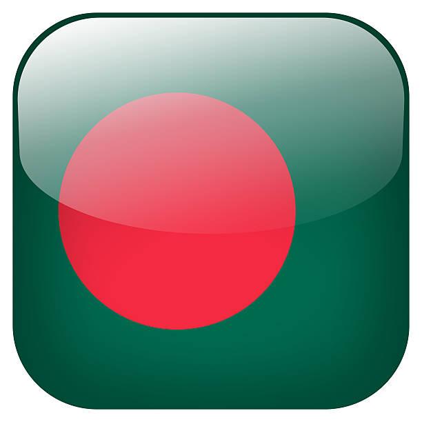 Bangladesh national flag square button isolated on white background stock photo