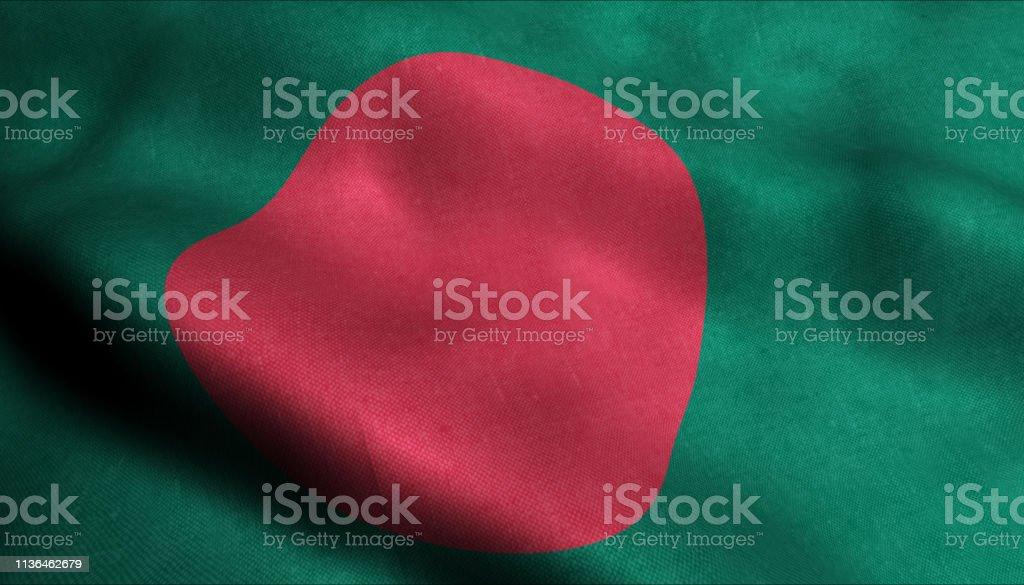 Bangladesh Waving Flag in 3D stock photo
