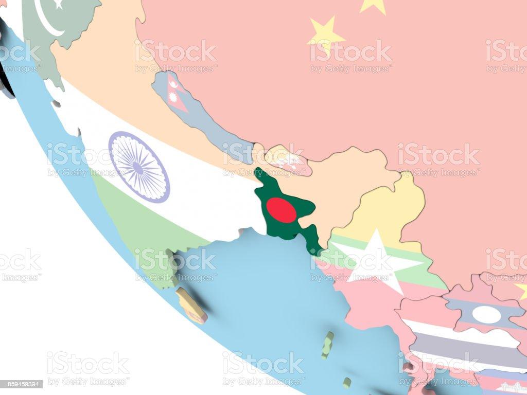 Bangladesh con bandera en el mundo - foto de stock