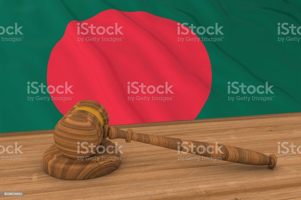 Concepto de ley de Bangladesh - bandera de Bangladesh detrás martillo foto Ilustración 3D del juez - foto de stock