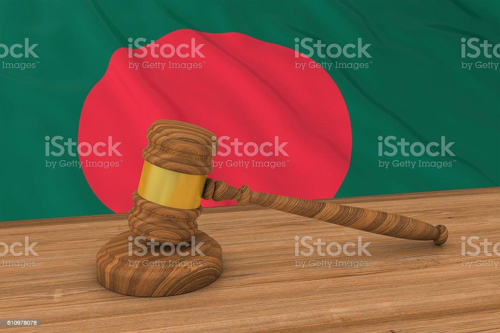 Bangladeshi Law Concept - Flag of Bangladesh Behind Judge's Gavel - foto de stock