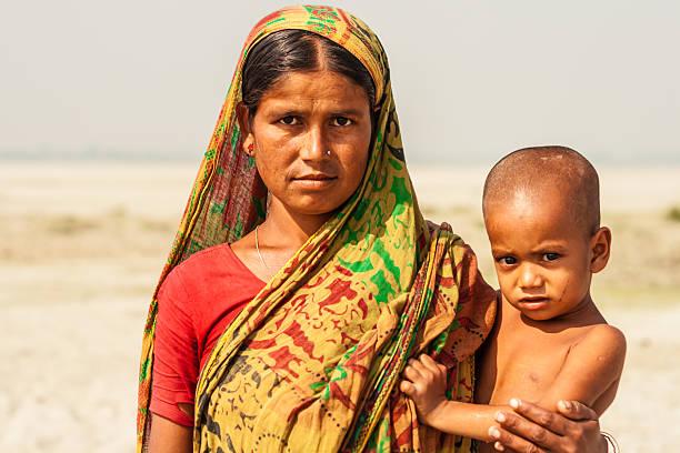 방글라데시인 구슬눈꼬리 및 어린이 스톡 사진