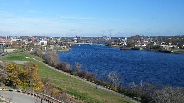 Bangor by the Blue Penobscot River in Fall stock photo