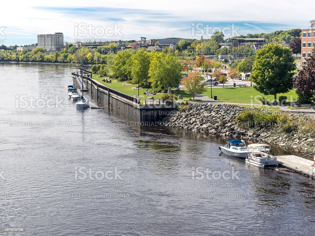 Bangor Maine Waterfront Park Penobscot River and City Area stock photo