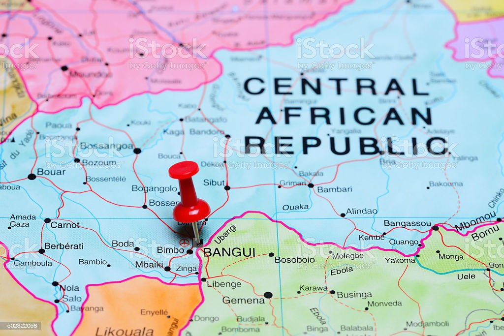 Bangui pinned on a map of Africa stock photo