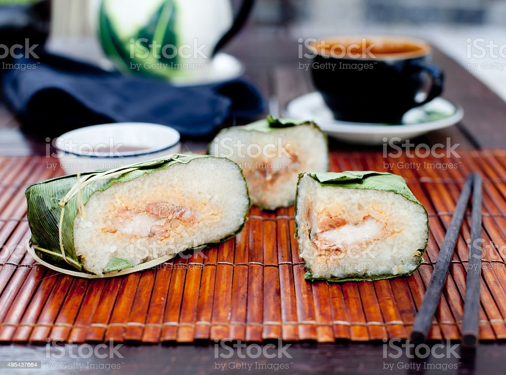 Banh chung, Traditional present for Lunar New Year, Vietnamese  dish. stock photo
