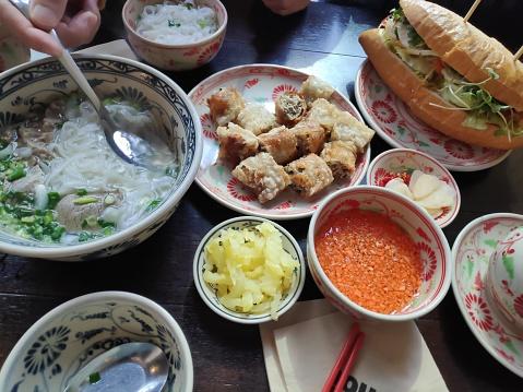 banh mi and pho(rice noodle), nem