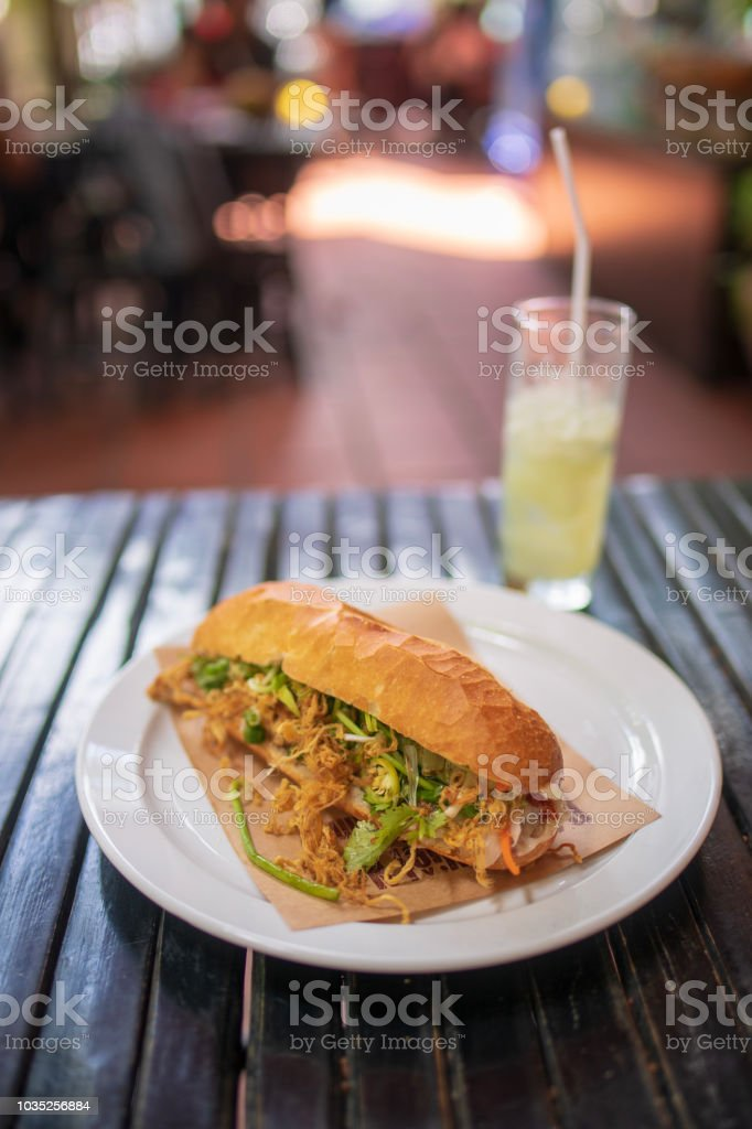 Banh Mi for lunch at Vietnamese restaurant stock photo
