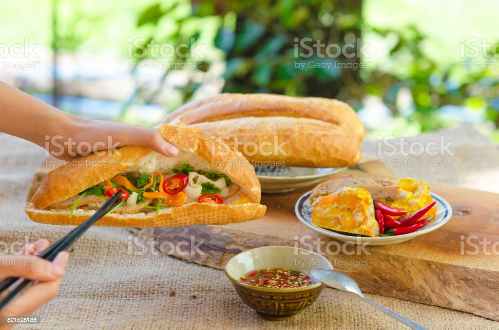 Banh Mi - most popular Vietnamese sandwich stock photo
