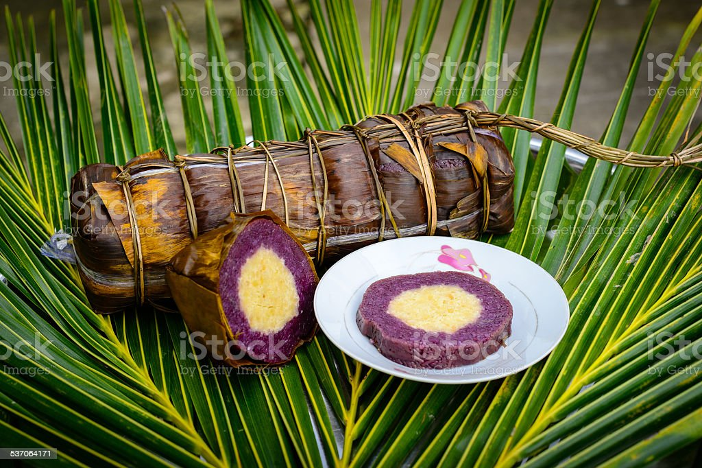 Banh Tet, cylindrical glutinous, local specialty in Vietnam stock photo