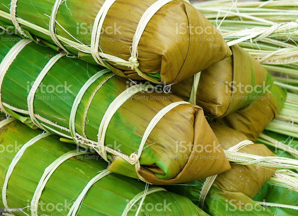 Banh tet, Vietnam glutinous rice cake stock photo