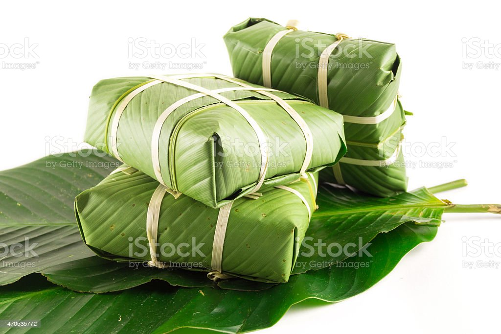 Banhchung, Traditional present for Lunar New Year, Vietnamese traditional dish stock photo