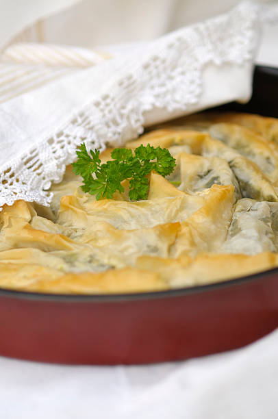 Banitsa with spinach stock photo