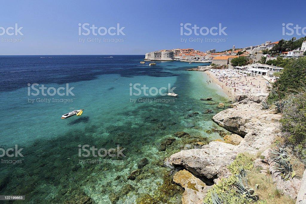 Banje Beach in Dubrovnik, Croatia stock photo