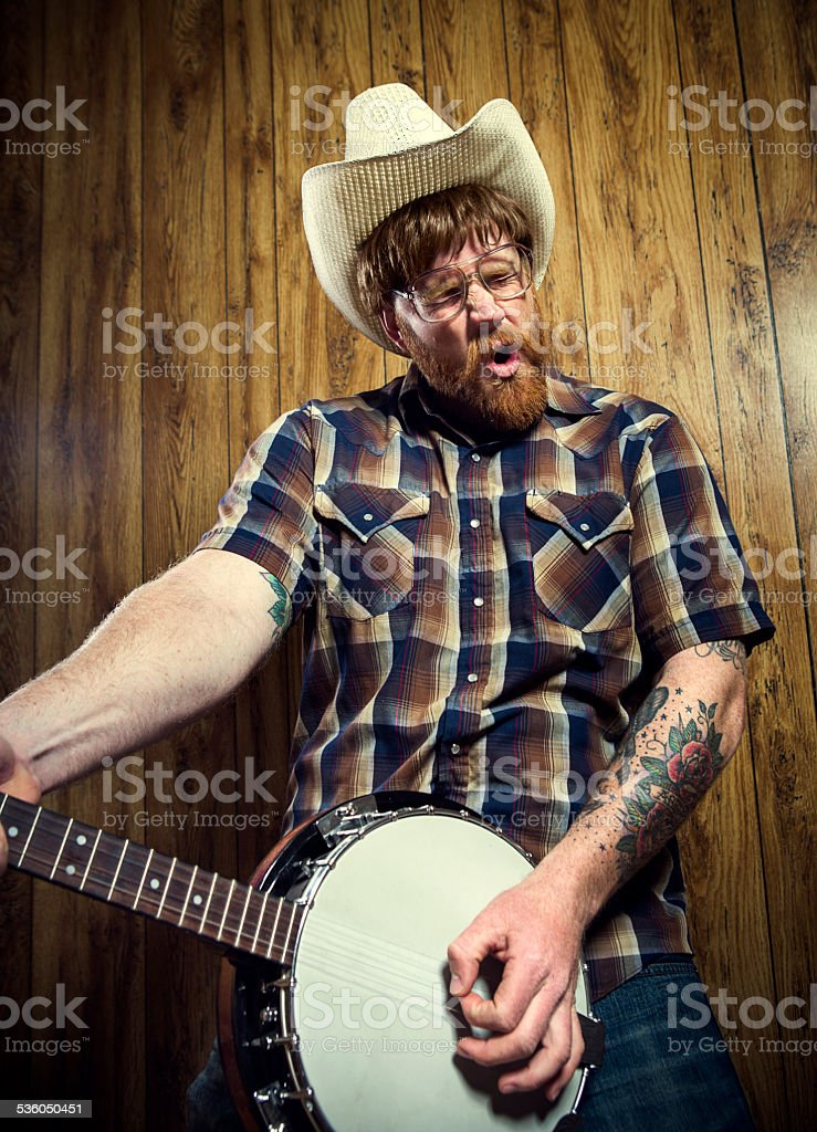 Banjo Cowboy Singing stock photo