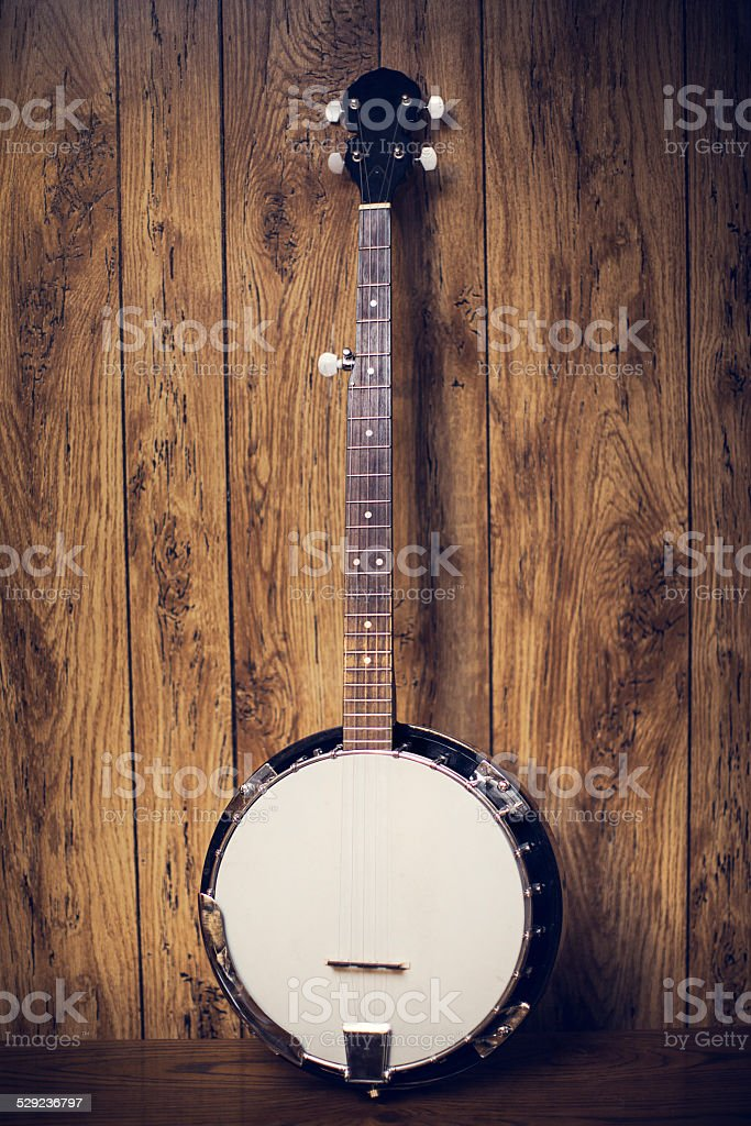 Banjo in Rustic Setting stock photo
