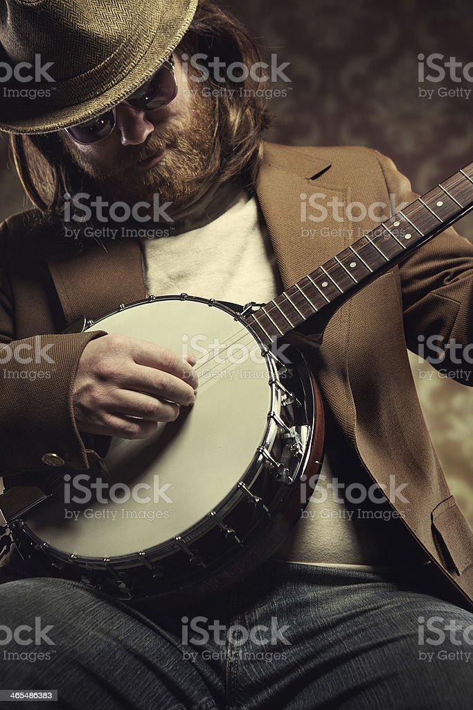 Banjo Man Playing a Song stock photo