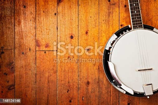 Five-string bluegrass banjo on distressed wooden planks. Camera: Canon EOS 1Ds Mark III.