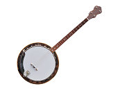 Banjo stringed instrument isolated on white background.