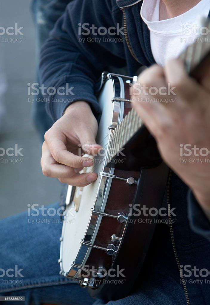 Banjo player hands close up stock photo