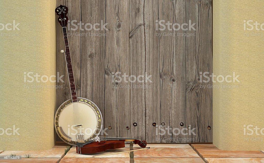 Banjo y Violín sobre la puerta de un granero. stock photo