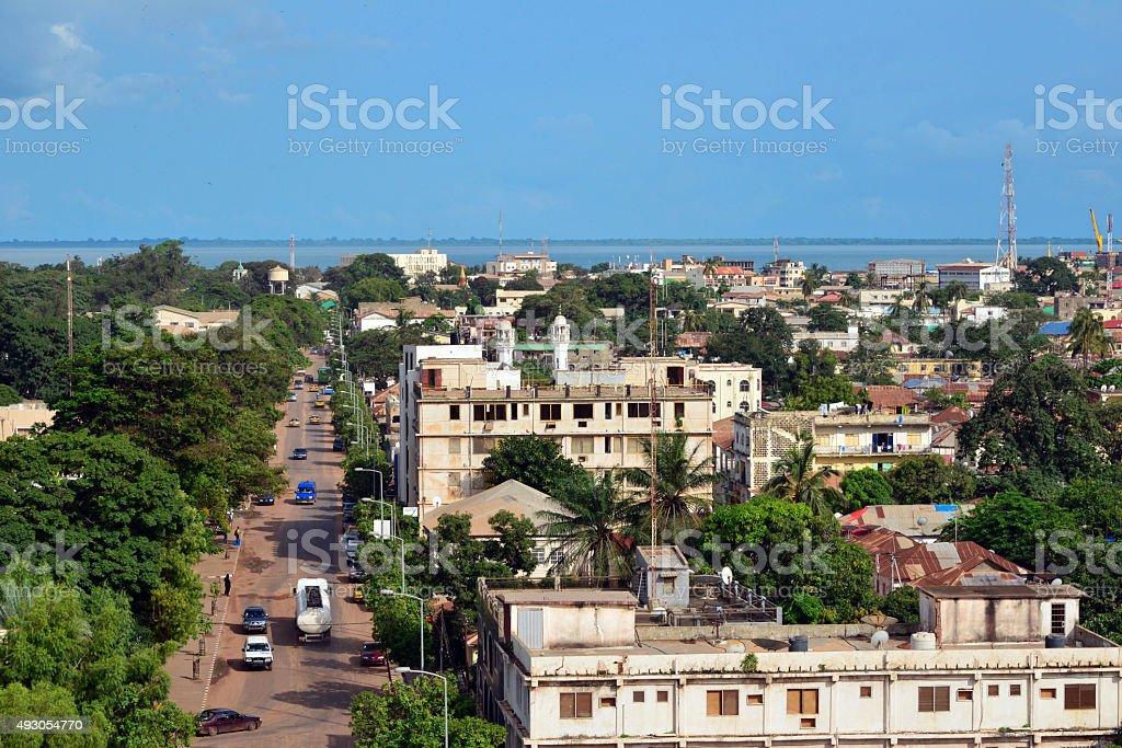 Banjul main avenue and skyline, The Gambia stock photo