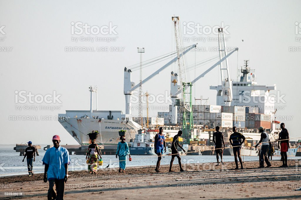 Banjul port, The Gambia. stock photo