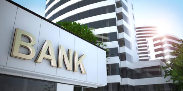 banca, illustrazione 3d - banca foto e immagini stock