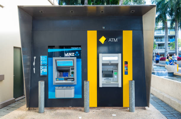 ANZ Bank and Commonwealth Bank ATMs in Brisbane, Australia stock photo